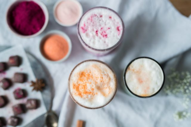 Dairyfree almond rainbow latte and feel good marmalade candies