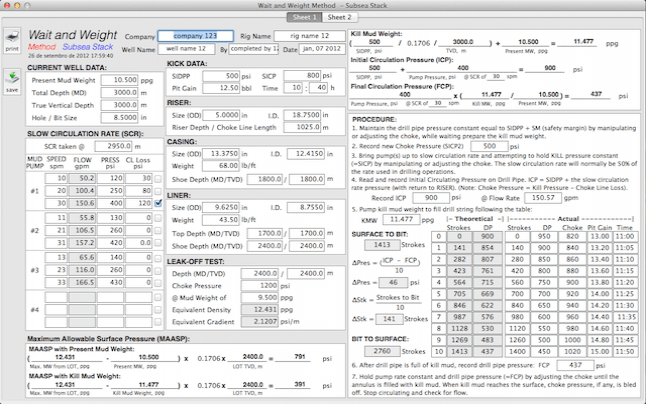 Well Control Worksheets for Mac