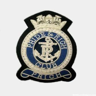 Pride and rich club silver bullion wire blazer badges