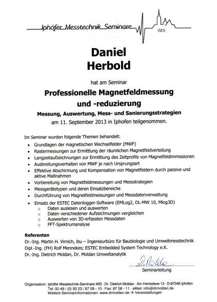 Teilnahme Schulung: Professionelle Magnetfeldmessung und -reduzierung