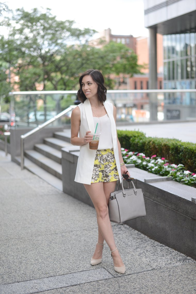 Wellesley & King can teach you the basics of creating a classic and feminine wardrobe on a real girl budget. Click to see more outfits from this ladylike fashion blogger! | feminine style, the ladylike project, classic outfit, floral shorts, kate spade handbag, long bob, fashion blogger, pittsburgh blogger, real women style, everyday fashion,