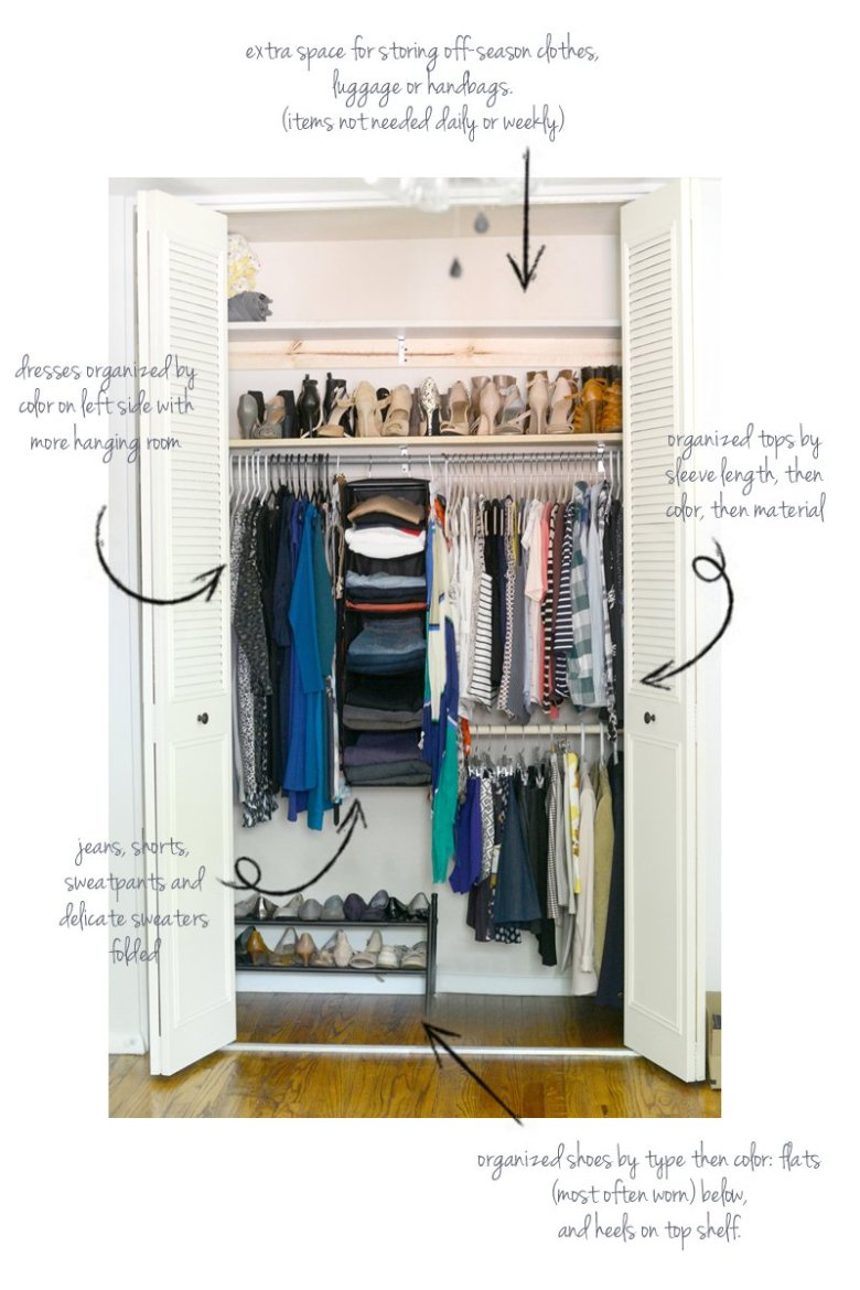 bedroom closet reorganization | | Closet Re-organization Tips for Moving Into a New Home featured by top US life and style blog, Wellesley & King