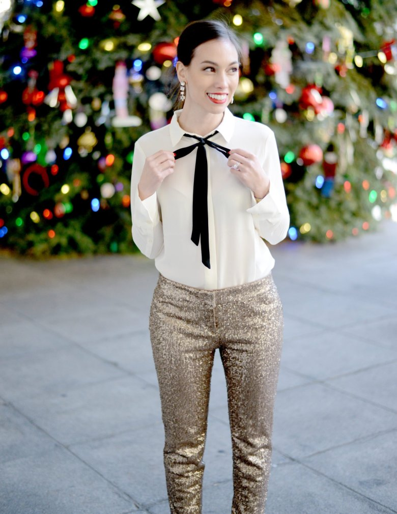 Top 4 Holiday Trends to wear year after year: sequins | Fashion | Style | J.Crew | holiday dinner party-@wellesleynking-wellesley and king | Wardrobe Etiquette for Your Holiday Office Party Outfit featured by top Pittsburgh fashion blog Wellesley & King