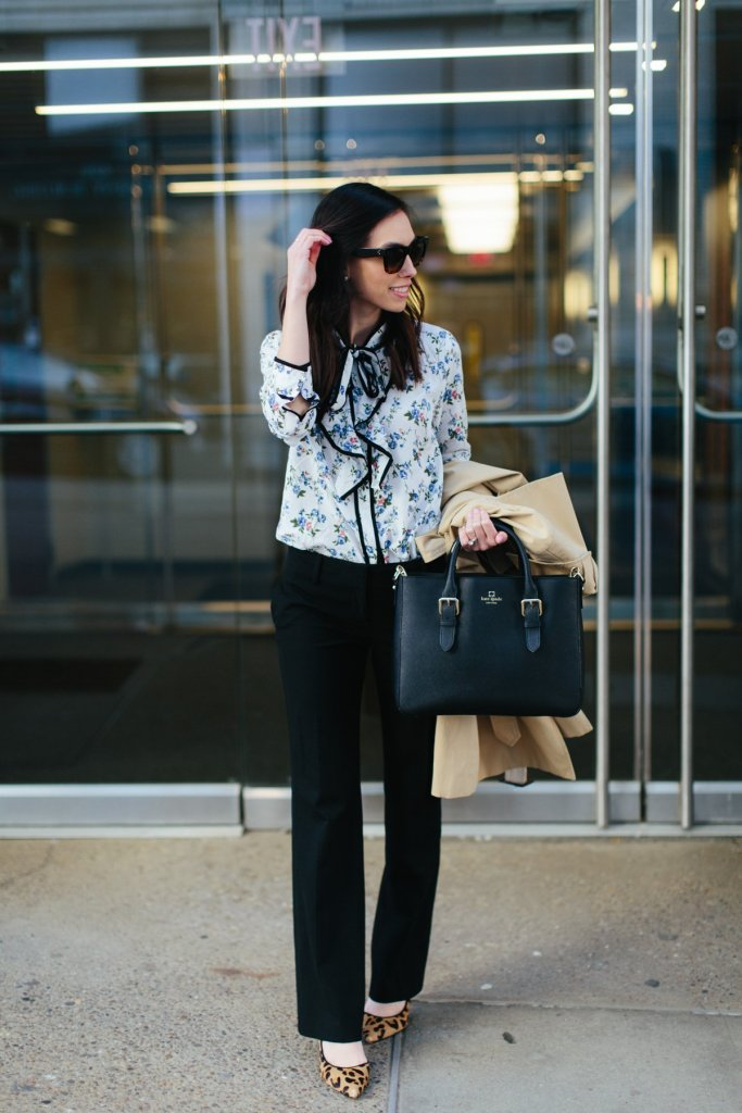 floral blouse-spring work outfit-petite work outfit-kate spade satchel