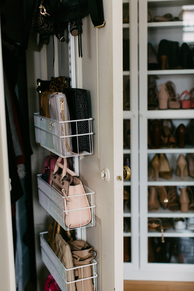 closet door organization-pittsburgh fashion blogger-wellesley and king | Closet Door Storage idea featured by top Pittsburgh fashion blog, Wellesley & King: image of door closet storage racks