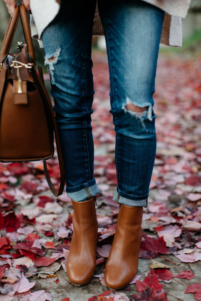 brown leather ankle boots and distressed jeans