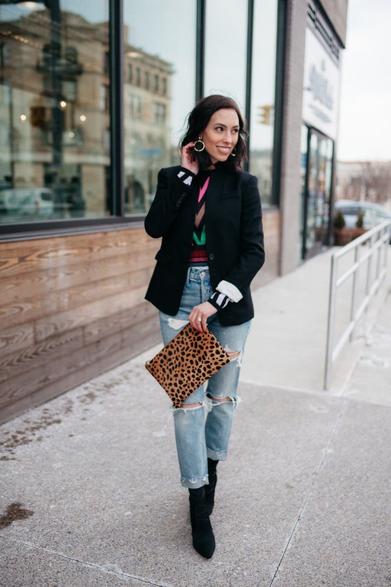 Top US fashion blogger, Wellesley & King, styles a DVF sweater three ways: girl in dvf sweater, distressed jeans, jcrew regent blazer