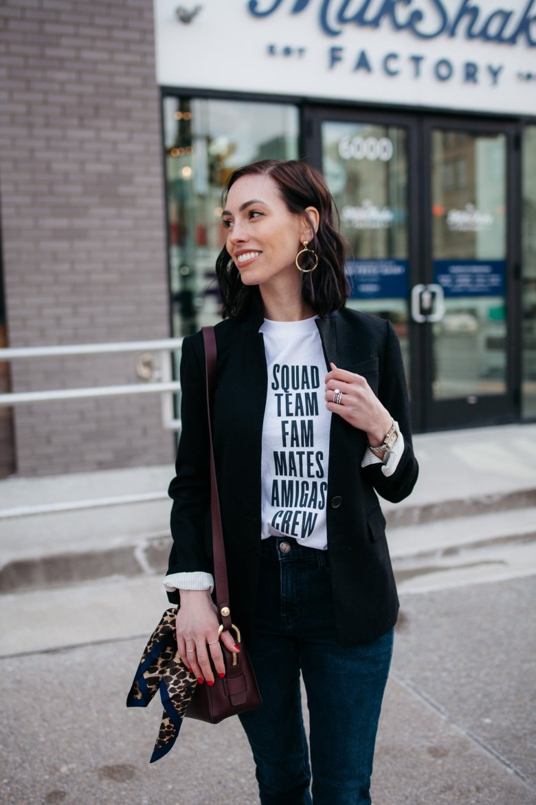 Top US fashion blogger, Wellesley & King, styles a graphic tshirt three ways: girl in tshirt, jcrew blazer, and jeans