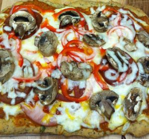 Basil Rosemary Pizza Crust and Carrot Squash Tomato Sauce