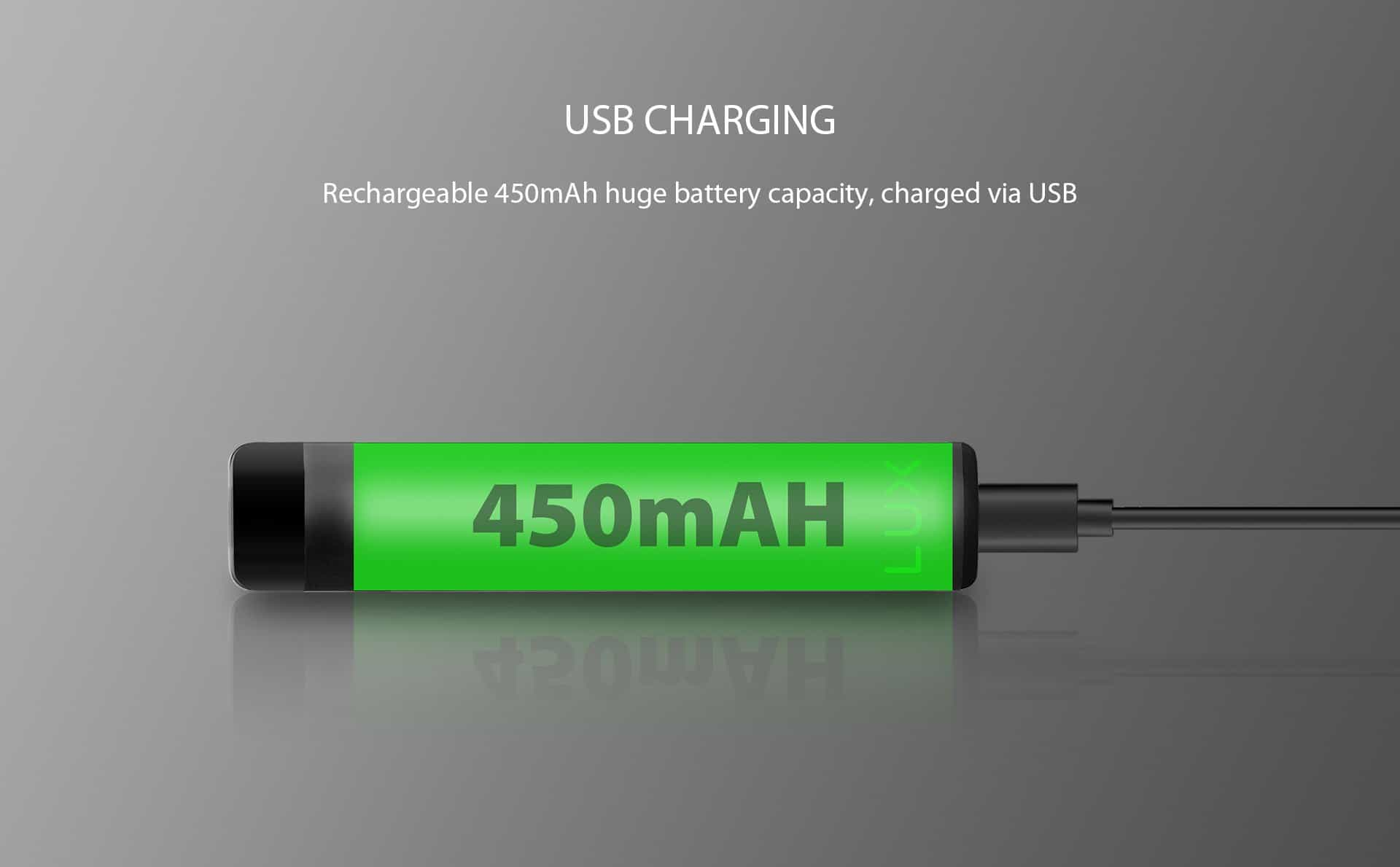 Wellon LUX Pod system designed with fast USB Charging, rechargeable 450mAh huge battery capacity, charged via micro USB port.