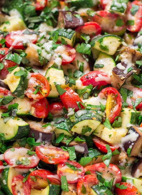 Easy CHEESY Zucchini Bake with Tomato, Eggplant, Garlic, and Parmesan. The best way to use up extra garden veggies! Recipe at wellplated.com | @wellplated