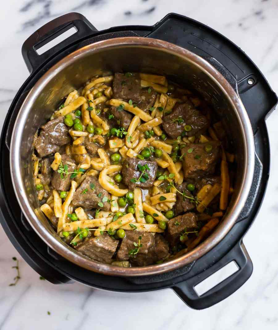 Easy pressure cooker beef and noodles in an Instant Pot made with Reames egg noodles