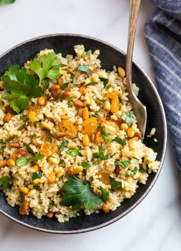 Easy Moroccan couscous with raisins and pine nuts on a plate