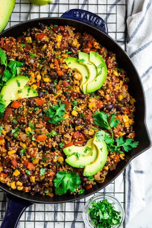 A blue skillet with Mexican quinoa