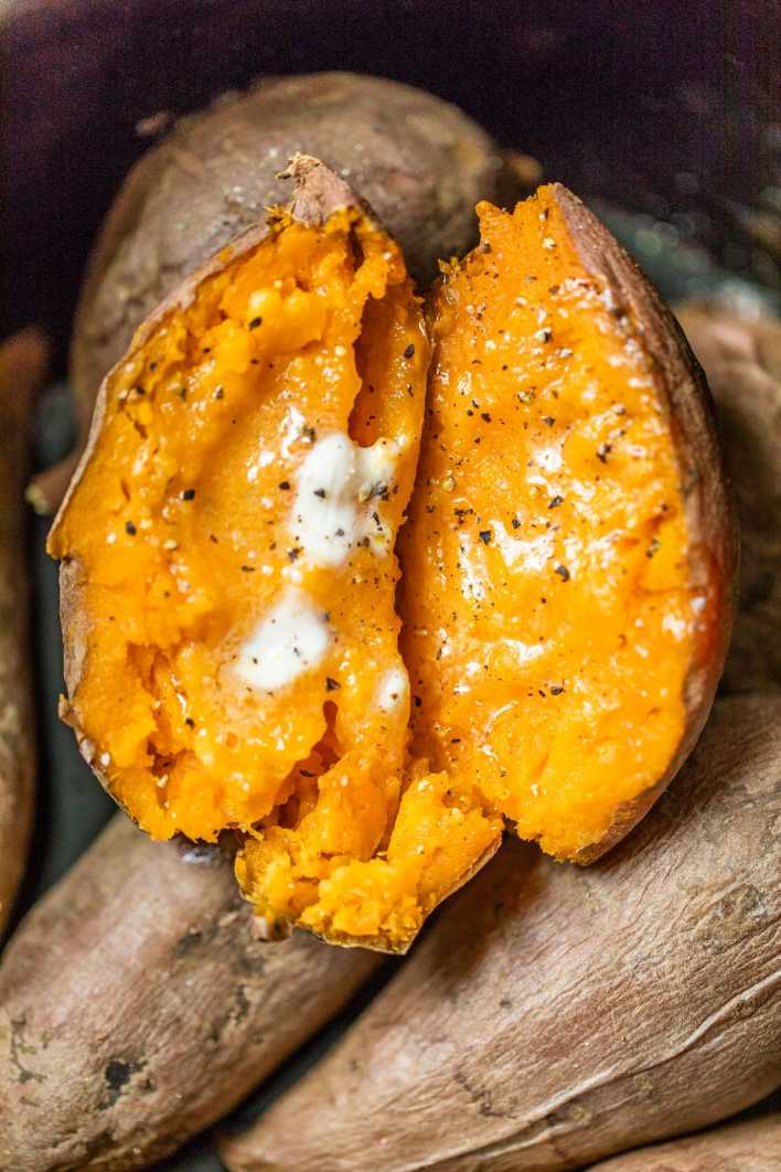 Melted butter on a sweet potato