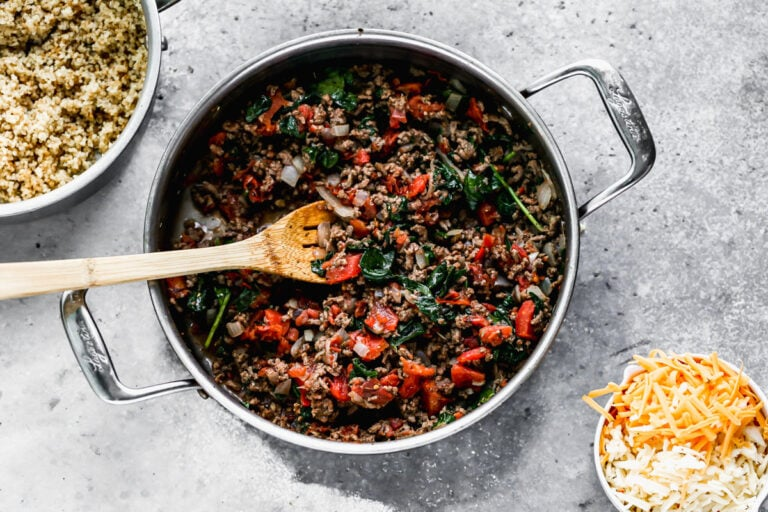 A pot with ground meat and vegetables