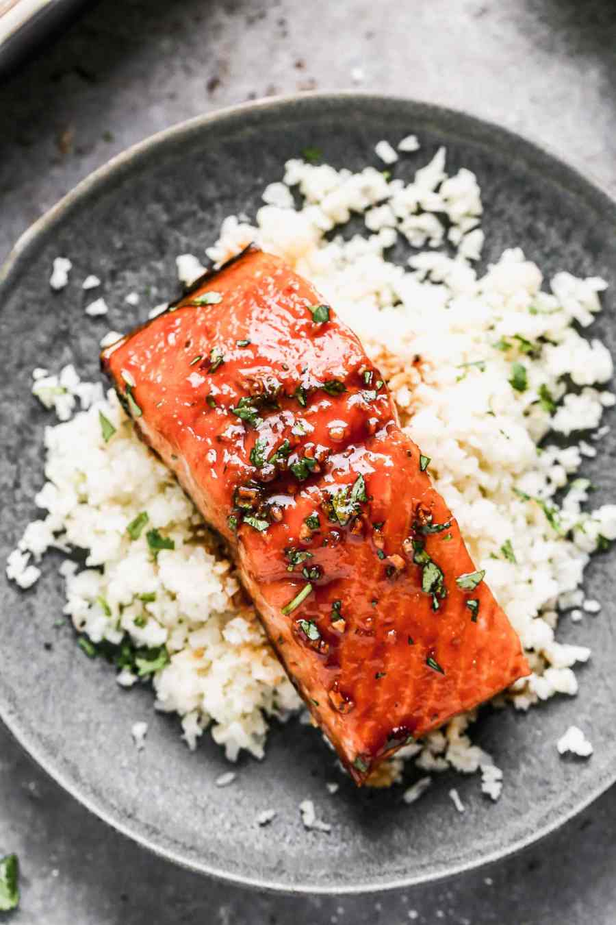 Easy honey glazed salmon and rice on a plate