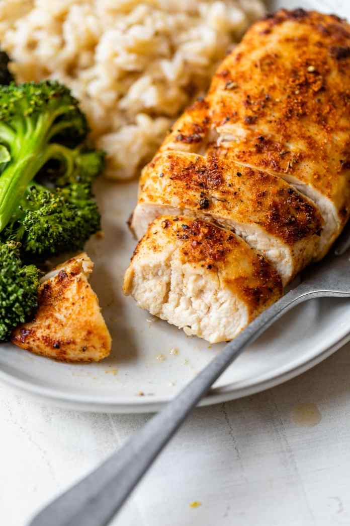 A sliced air fryer chicken breast