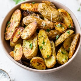 A bowl of roasted fingerling potatoes