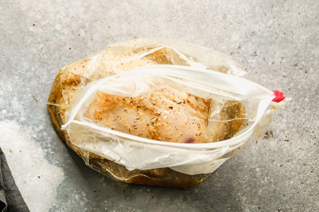 Meat and marinade in a bag