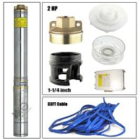 BACOENG 2hp 4'' Deep Well Pump Submersible 220v Stainless Steel 528ft Max 33ft Cord