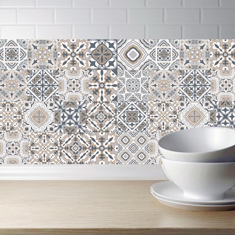 2 pcs retro tile stickers kitchen bathroom pvc self adhesive wall stickers living room diy decor wallpaper waterproof decoration style laminating