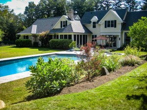landscape-Oakville backyard maintenance trees and grass pool area