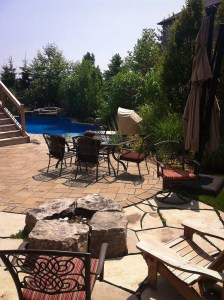 landscape-Oakville backyard stone deck