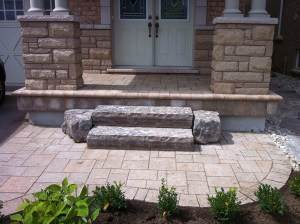 landscape-Oakville entrance stone deck with steps
