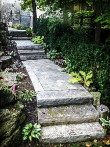 landscape Burlington garden stone steps and pathway