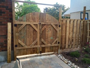 landscape Oakville wooden fence with gate