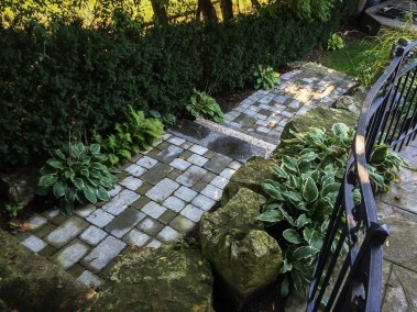 landscape-Oakville stone steps backyard