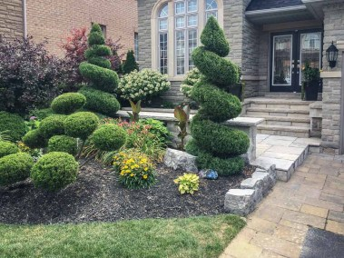 landscape Burlington stone entrance with garden