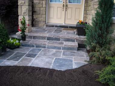 landscape Oakville stone entrance with steps