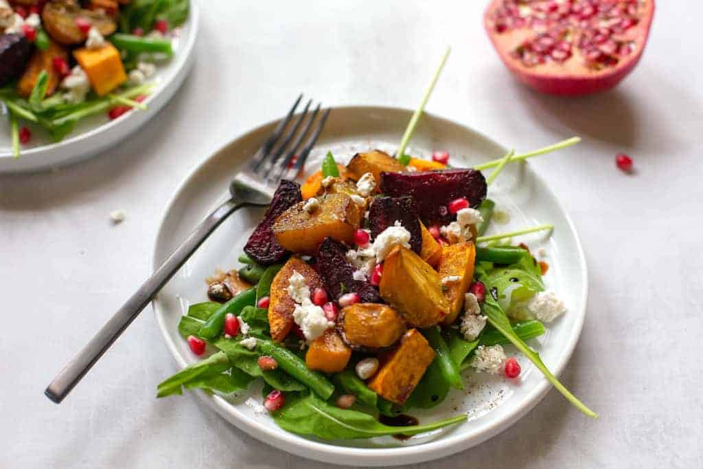Roasted beet salad with butternut squash and arugula