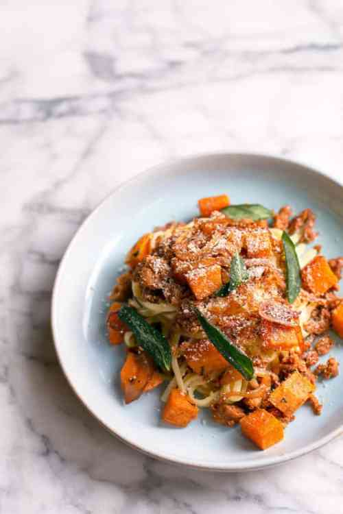 Linguine with chorizo, butternut squash, and sage