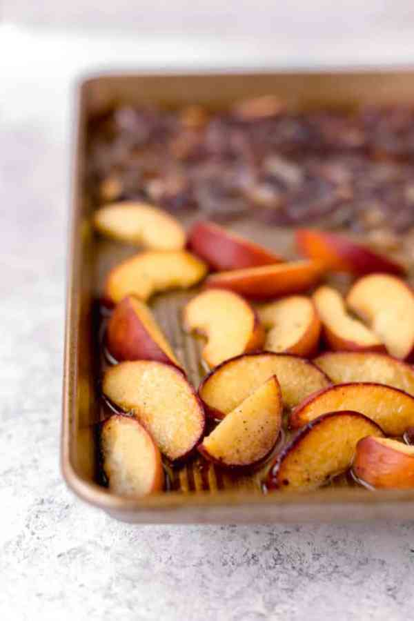 Roasted sheet pan peaches and red onion
