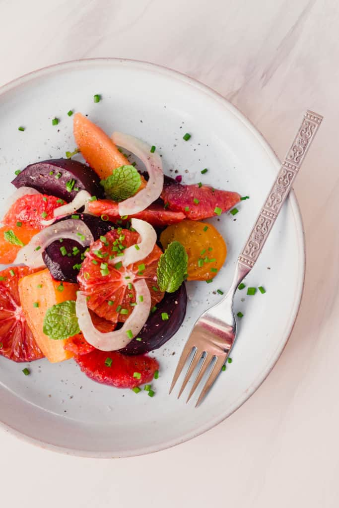 Winter citrus salad with fennel and roasted beets