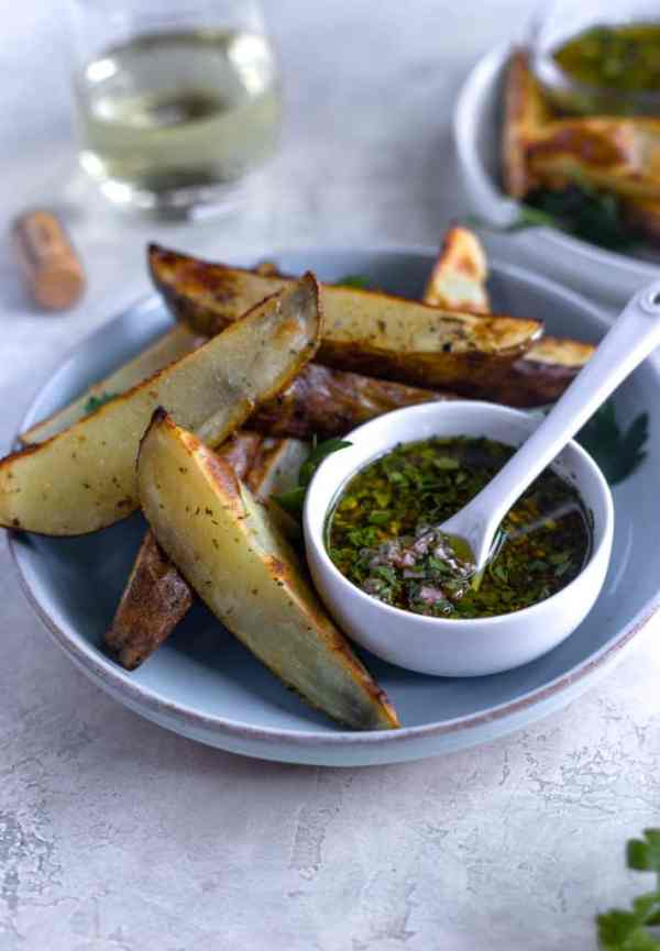 roasted potato wedges with vibrant chimichurri!