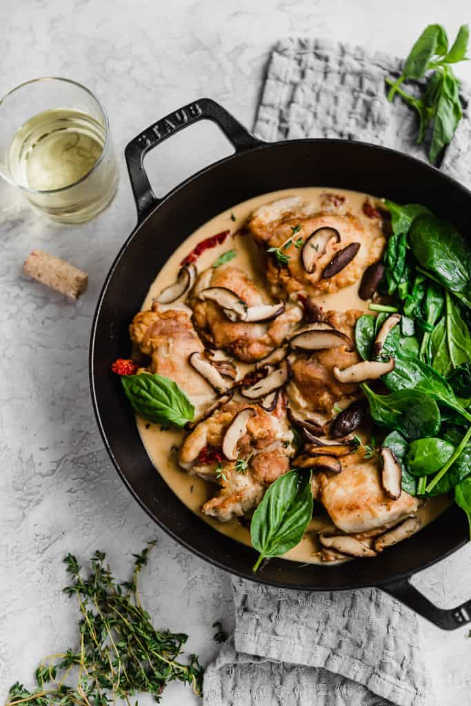 Creamy sun dried tomato chicken with mushrooms and white wine sauce