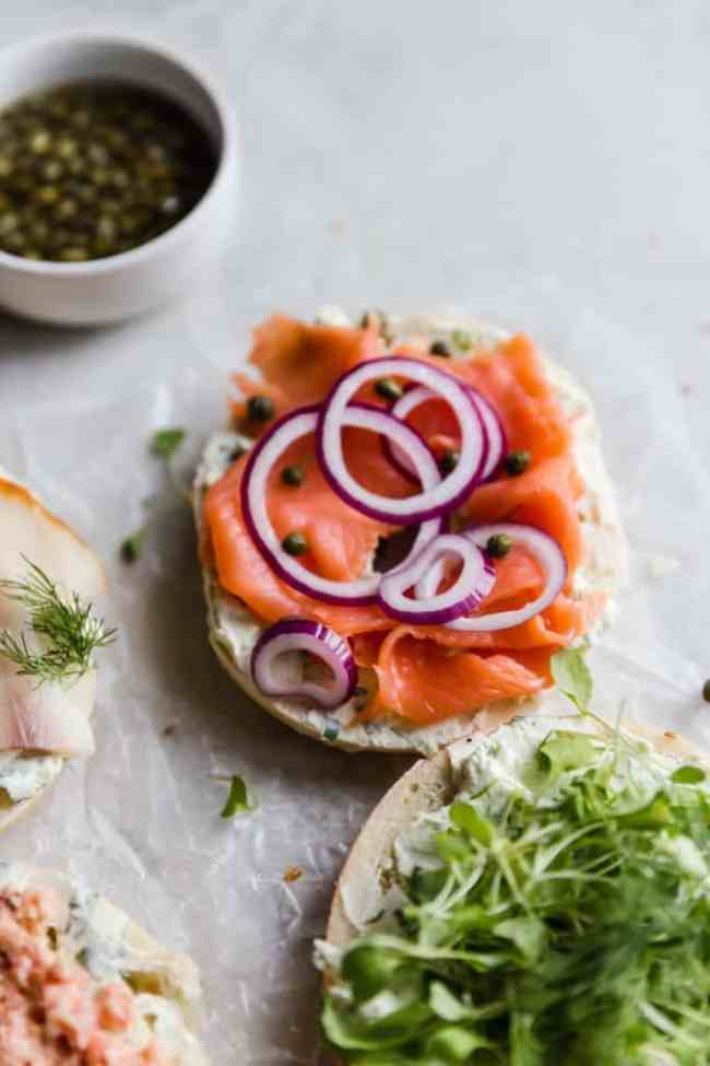 bagels, lox, cream cheese, and capers