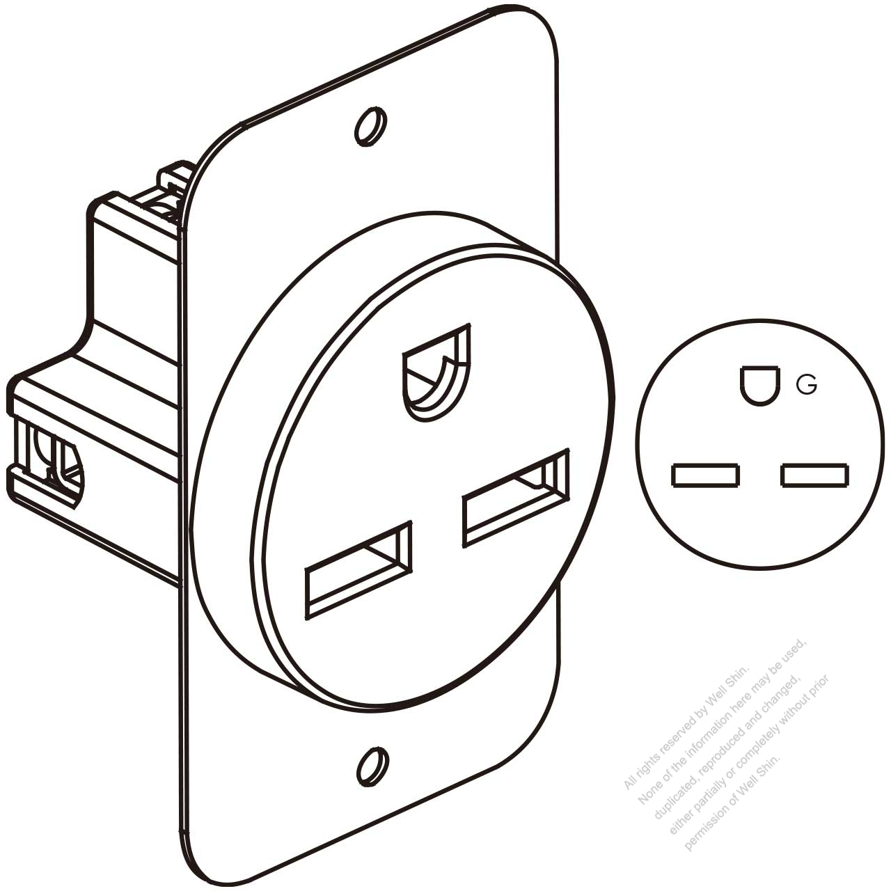 Usa Canada Flush Mount Receptacle Nema 6 30r 2 P 3 Wire