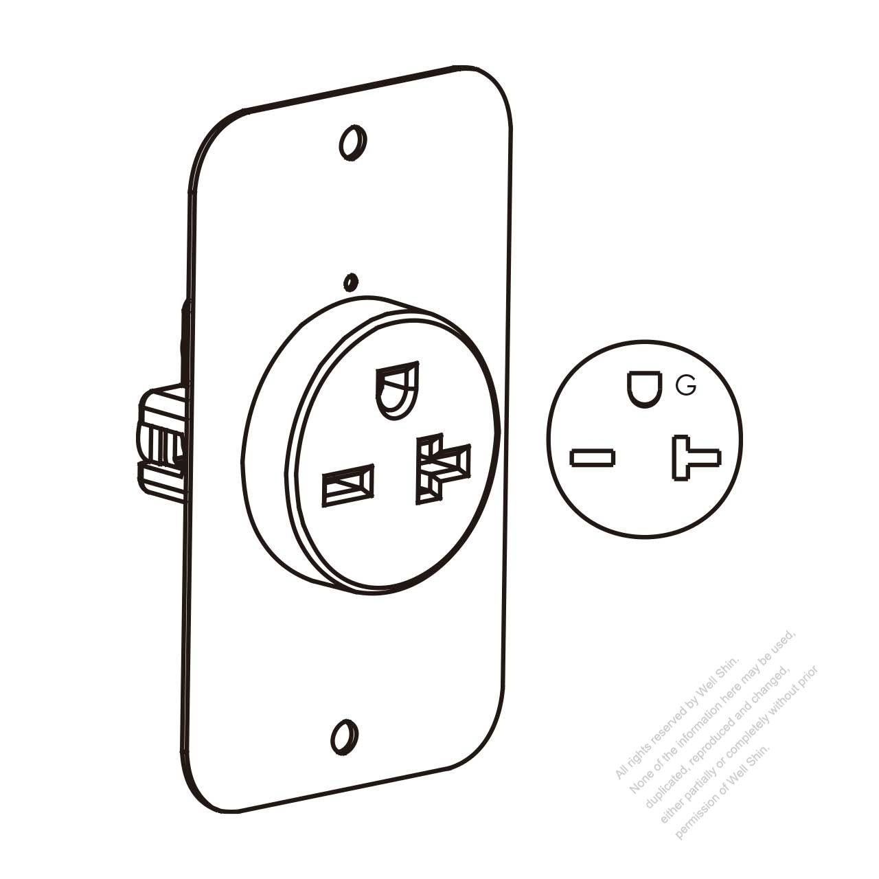 Usa Canada Flush Mount Receptacle Nema 6 15 20r 2 P 3 Wire Grounding 15a 20a 250v