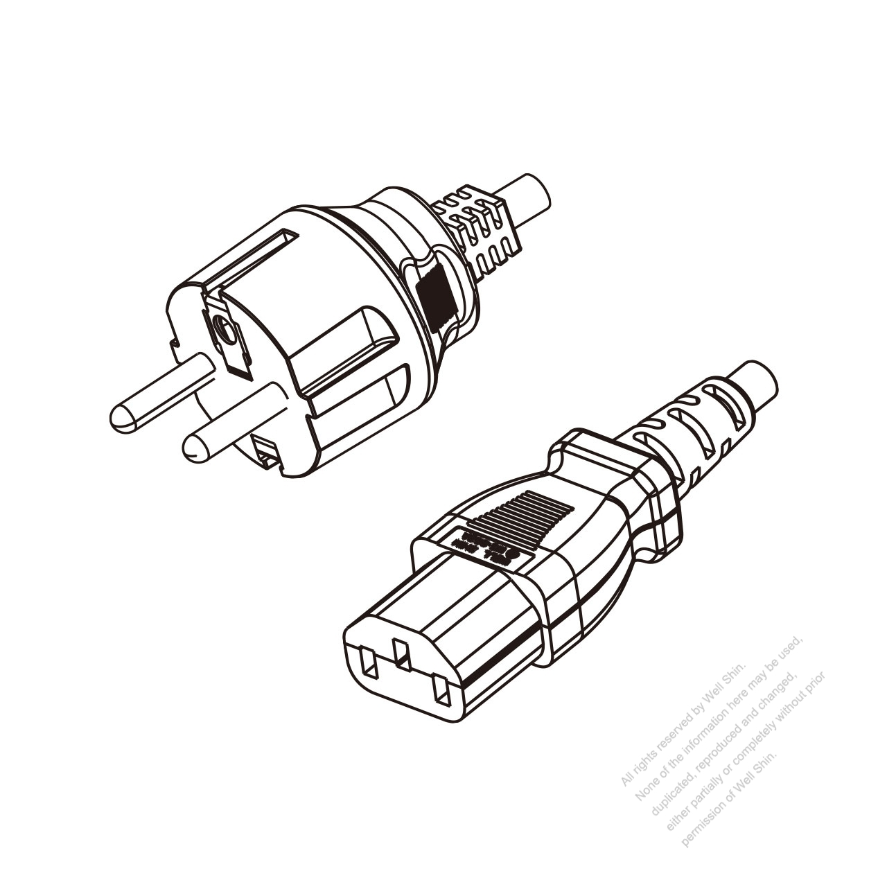 Korea 3 Pin Plug To Iec 320 C13 Power Cord Set Pvc 1 8m