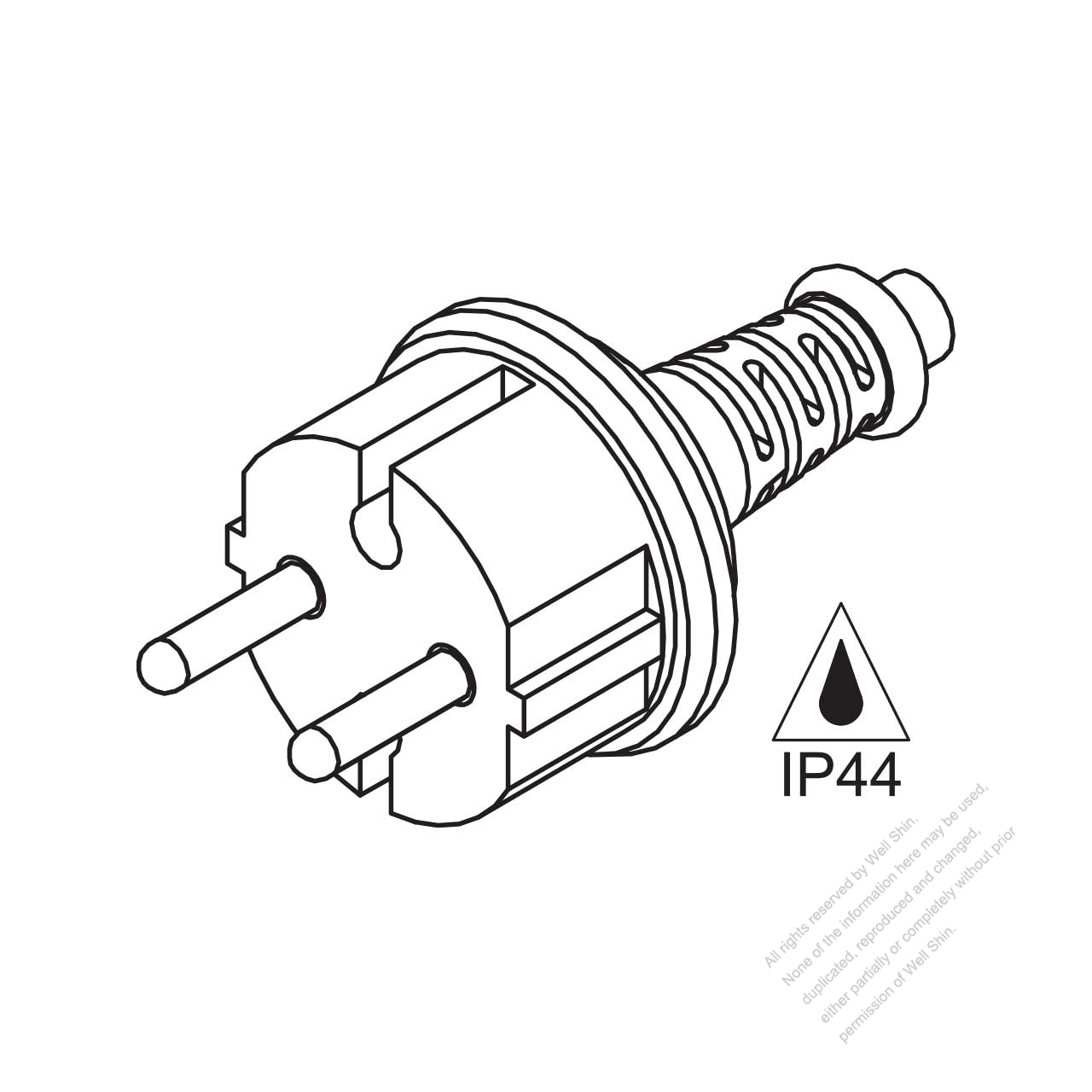Norway 2 Pin Waterproof Ac Plug 16a 250v