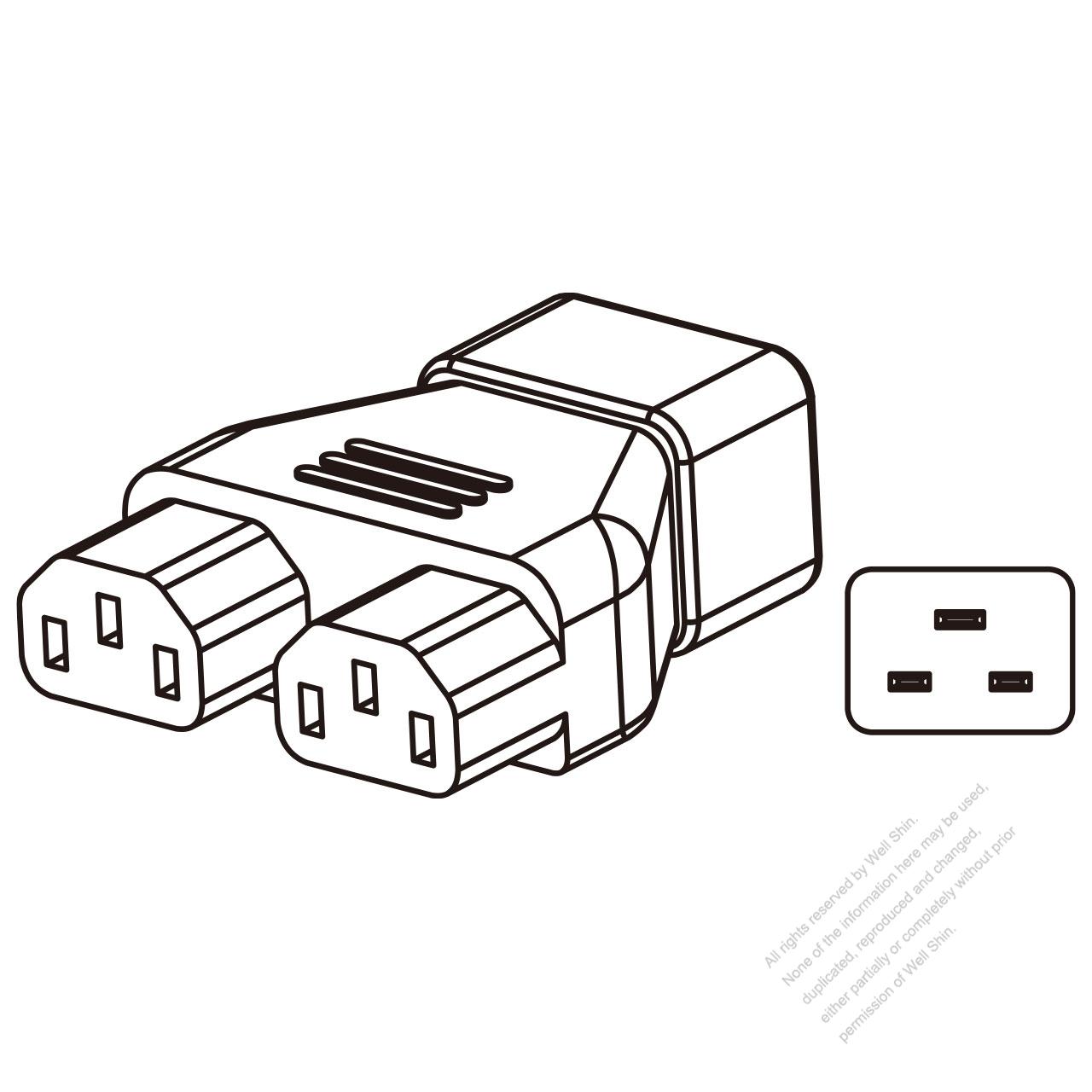 Adapter Plug Iec 320 Sheet I Inlet To Iec 320 C13 X 2 3