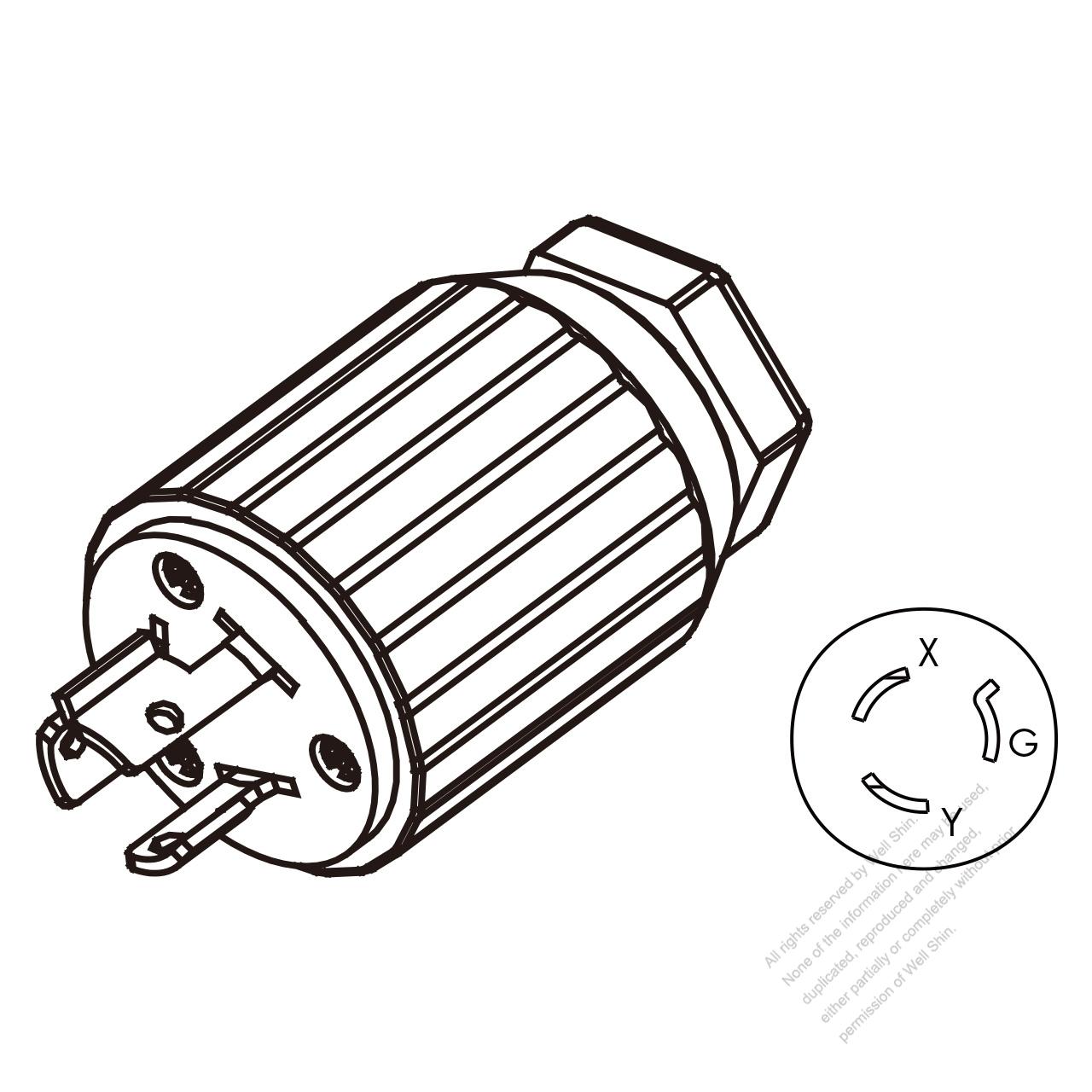 Usa Canada Twist Lock Nema L6 15p 3 Pin Straight Plug 2