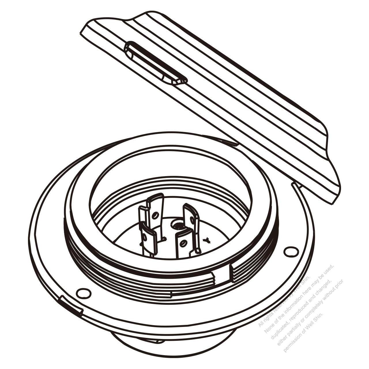 Usa Canada Locking Flanged Inlet Nema L14 20p 3 P 4 Wire