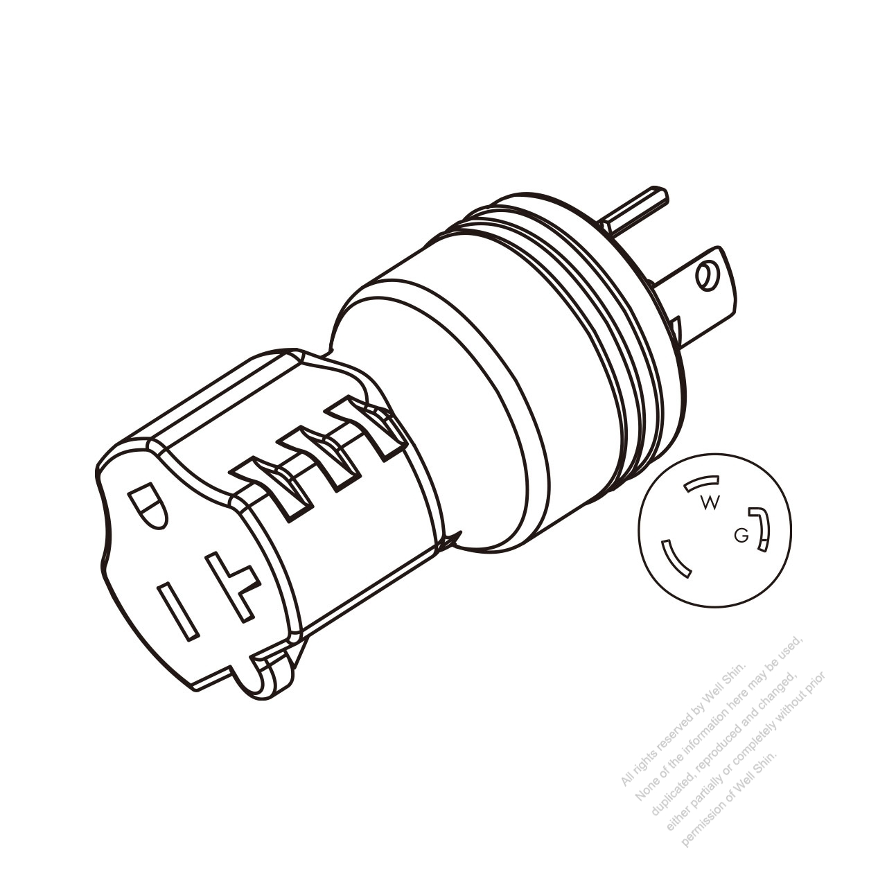Adapter Plug Nema L5 30p Twist Locking To Nema 5 20r 2 P