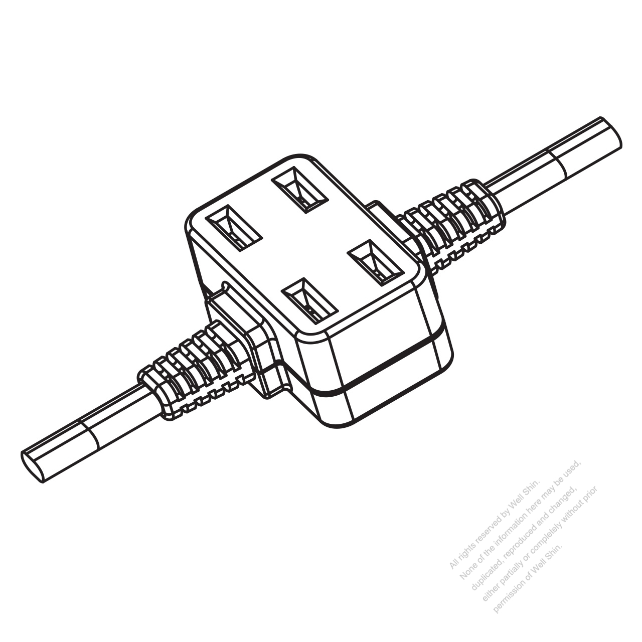 Usa Canada Multi Outlet Ac Connector Nema 1 15r Straight Blade 2 Outlet 2 P 2 Wire Non